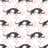 Hand drawn cats pattern Royalty Free Stock Photo