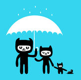 Hand drawn cats in the rain. A hand drawn cat family in the rain Stock Photography