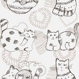 Hand drawn cats seamless pattern. Stock Photography