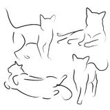 Hand drawn cats set vector illustration