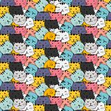 Hand drawn cats vector pattern. Doodle art. Doodle art. Vector Illustration Royalty Free Stock Photos