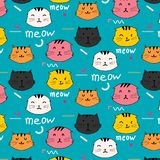 Hand drawn cats vector pattern. Doodle art. Doodle art. Vector Illustration Royalty Free Stock Photography