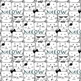 Hand drawn cats vector pattern. Doodle art. Vector Illustration Royalty Free Stock Photo