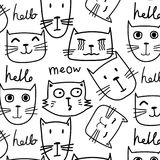 Hand drawn cats vector pattern. Doodle art. royalty free illustration