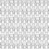 Hand drawn cats vector pattern. Doodle art. Royalty Free Stock Photos