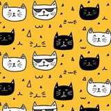 Hand drawn cats vector pattern. Doodle art. Vector Illustration Stock Images
