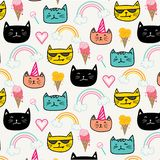 Hand drawn cats vector pattern. Doodle art. Stock Photo