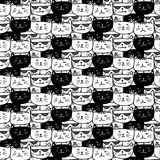 Hand drawn cats vector pattern. Doodle art. Vector Illustration Stock Photo