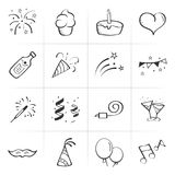 Hand Drawn Celebration vector icons. Hand Drawn Celebration vector illustrations icons. 12 line art icons Stock Photo