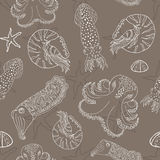 Hand drawn cephalopods seamless pattern Stock Image