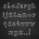 Hand drawn chalk Abc set. Set of contour 3d hand drawn alphabet letters and punctuation marks. Vector illustration in white over black chalkboard royalty free illustration