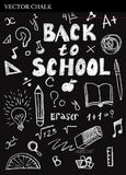 Hand Drawn Chalk Back to School Doodles. Vector Illustration Royalty Free Stock Photos