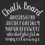Hand drawn chalk board alphabet font. Upper and lower case letters and numbers on a distressed background. Retro vector typeface for your design Vector Illustration