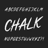 Hand drawn chalk board alphabet font. Uppercase letters. Royalty Free Stock Photo