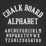 Hand drawn chalk board alphabet font. Vintage letters and numbers on a distressed background. Retro vector typeface for your design Vector Illustration