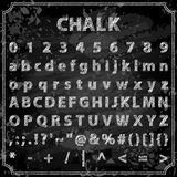 Hand drawn chalk font. Vector illustration of trendy hand drawn chalk font. Includes alphabet, numbers and symbols Stock Image