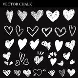 Hand Drawn Chalk Hearts Collection Stock Images