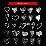 Hand Drawn Chalk Hearts Collection. Stock Photo
