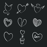 Hand Drawn Chalk Hearts Collection Royalty Free Stock Photography
