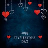 Hand drawn chalk lettering Happy Valentine`s Day Royalty Free Stock Images
