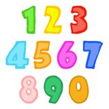 Hand drawn chalk numbers stock illustration