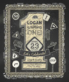 Hand-drawn chalk one year Birthday invitation for boy. Stock Photography