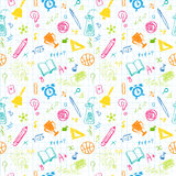 Hand Drawn Chalk School Doodled Pattern on White Stock Photo