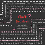 Hand drawn chalk vector brushes with inner and outer corner. Chalk brush, divider, border. Royalty Free Stock Images