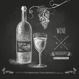 Hand drawn chalk  wine background Royalty Free Stock Images