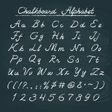 Hand drawn chalkboard alphabet. With numbers and punctuation marks Royalty Free Stock Images