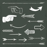 Hand drawn chalkboard arrows. 15 hand drawn chalkboard arrows with vector illustration Stock Image