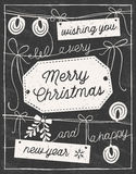 Hand Drawn Chalkboard Christmas Card Royalty Free Stock Photos