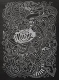 Hand-drawn chalkboard doodles Musical illustration Stock Image