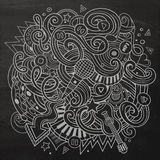 Hand-drawn chalkboard doodles Musical illustration Royalty Free Stock Photos