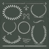 Hand drawn chalkboard frames. 6 hand drawn chalkboard frames and ornaments with vector illustration Royalty Free Stock Photo