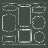 Hand drawn chalkboard frames. 8 hand drawn chalkboard frames with vector illustration Royalty Free Stock Photo