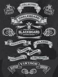 Vintage Chalkboard Banner and Ribbon Set royalty free illustration