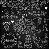 Hand Drawn Chalkboard Wedding Vector Set with Dress, Tuxedo Royalty Free Stock Images