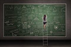 Hand drawn chalkboard with woman climb Royalty Free Stock Photo