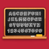 Hand Drawn Chalked 3D Letters and Numbers on Blackboard Stock Photo