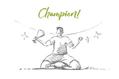 Hand drawn champion holding victory cup, lettering. Vector hand drawn champion sketch. Sportsman or football player sitting with victory cup in hand on stadium Royalty Free Stock Images