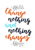 Hand drawn Change nothing and nothing changes typography lettering poster background vector illustration
