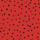 Hand drawn chaotic dots endless texture, black circles on red Stock Images