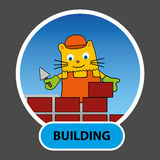 Hand-drawn character is a cat a Builder builds a house of bricks Stock Images