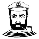 Hand-drawn character sailor. Black and white doodle. Vector royalty free illustration