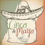 Hand Drawn Charro`s Hat with Scroll for Cinco de Mayo, Vector Illustration. Retro poster with beautiful hand drawn charro`s hat with over scroll for Cinco de
