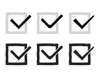 Hand drawn check marks or ticks confirm icons set Stock Photos