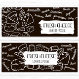 Hand drawn cheese banners set. Template for cheese shop,organic food, etc.Vector illustration. Royalty Free Stock Photography