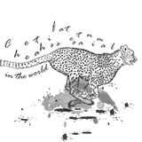 Hand drawn cheetah animal running with ink spots Royalty Free Stock Photo