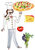 Hand drawn chef, pizza and pizza ingredients. Set of italian chef with pizza ana pizza ingredients, watercolor on white Stock Image